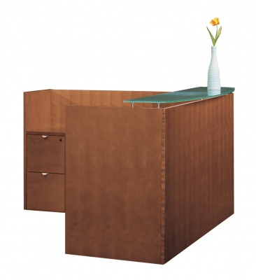 Jade Series Reception Desk with Glass Transaction Top