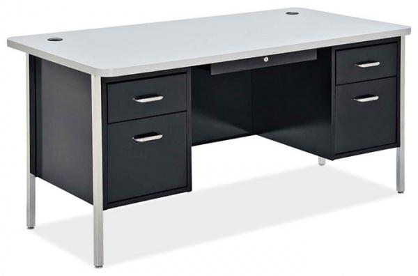 OfficeSource 600 Series Steel Teacher's Desk - Double Pedestal