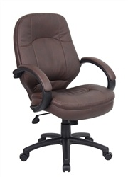 Bomber Brown Leather Mid Back Task Office Chair by Boss