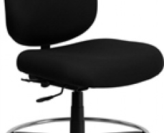 400 lb. Capacity Big and Tall Black Fabric Armless Drafting Stool with Extra Wide Seat