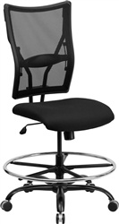 Armless Big & Tall Black Mesh Drafting Stool - 400 lb Capacity