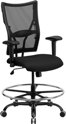 Big & Tall Black Mesh Drafting Stool - 400 lb Capacity