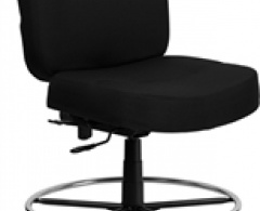 400 lb. Capacity Armless Big & Tall Black Fabric Drafting Stool with Extra Wide Seat