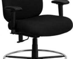 400 lb. Capacity Big and Tall Black Fabric Drafting Stool with Extra Wide Seat