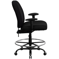 400-lb.-capacity-big-and-tall-black-fabric-drafting-stool-with-extra-wide-s