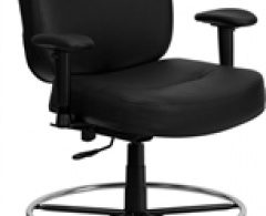 400 lb. Capacity Big & Tall Black Leather Drafting Stool with Extra Wide Seat