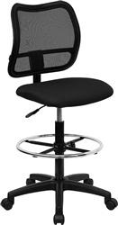 Spira Mid-Back Armless Mesh Drafting Stool with Black Fabric Seat