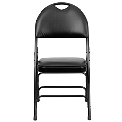 Hercules Series Curved Black Vinyl and Metal Folding Chair with Easy Carry Handle