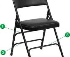 Hercules Series Curved Black Vinyl and Metal Folding Chair