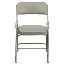 Hercules Series Curved Gray or  Beige nVinyl Upholstered Metal Folding Chair