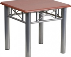 Mahogany or Natural Laminate End Table with Silver Steel Frame