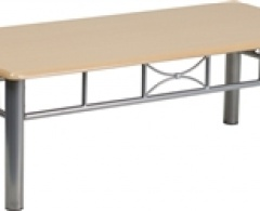 Natural or Mahogany Laminate Coffee Table with Silver Steel Frame