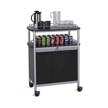 Mobile Beverage Cart with Open Storage Area