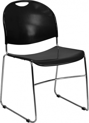 880lb Capacity High Density Ultra Compact Black Stack Chair with Chrome Frame