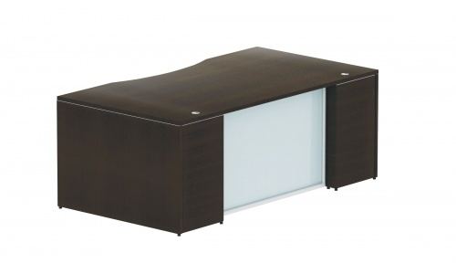 Potenza Double Pedestal Desk with White Glass Modesty Panel