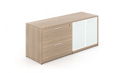 Potenza Combination Lateral File & Glass Door Credenza