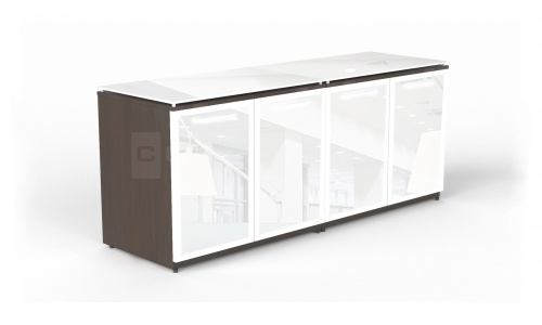 Potenza Credenza with Glass Doors & Floating Glass Top