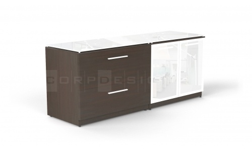 Potenza Combination Lateral File & Glass Door Credenza with Floating Glass Top