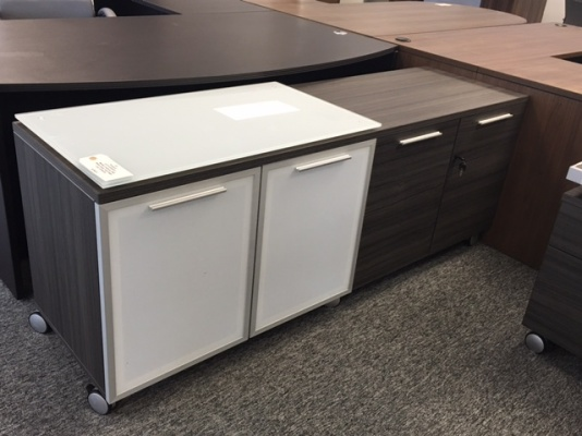 Potenza Mobile Lateral File and Glass Door Credenza