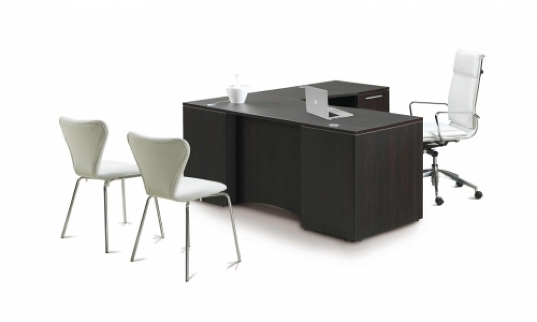 Potenza L Desk With Curved Laminate Modesty Panel