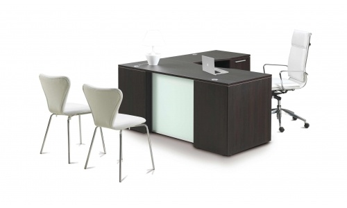 Potenza L-Desk with Glass Modesty Panel