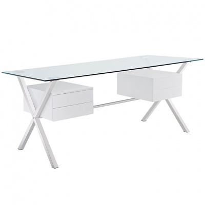 Abeyance Glass Desk with White Drawers