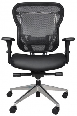 Rika Mesh Back Task Chair with Black Leather Seat