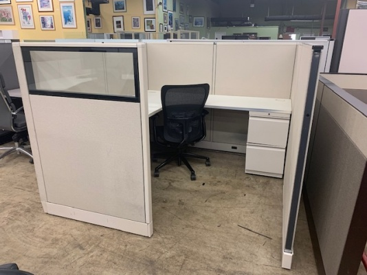 """Allsteel Consensys 54"""" H 6x6 Workstations with Glass Accent Panel"""