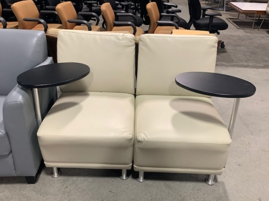 Beige Leather Club Chairs with Tablet Arm