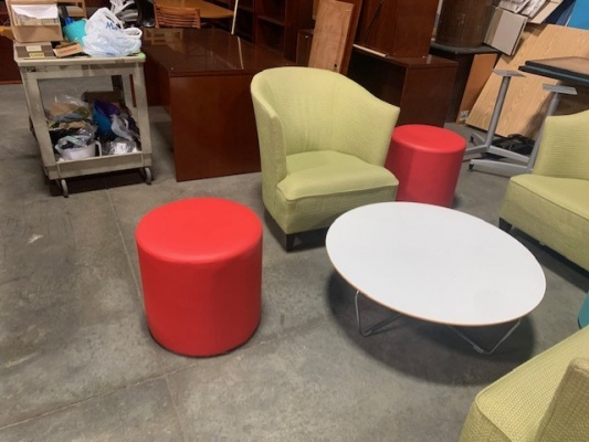 Red Leather Drum Side Tables