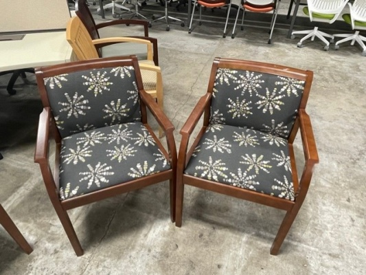 Cherry Frame Guest Chairs wtih Starburst Upholstery