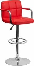 Flash Furniture Quilted Vinyl Bar Stool With Arms CH-102029-WH-GG