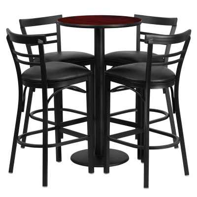 "24"" Round Bar Height Table Set with Round Base"